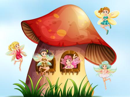 Five fairies flying in mushroom garden illustration Illustration