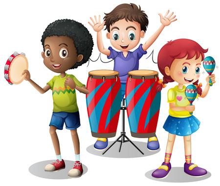 instrumentos musicales: Los niños tocando instrumentos musicales junto ilustración Vectores