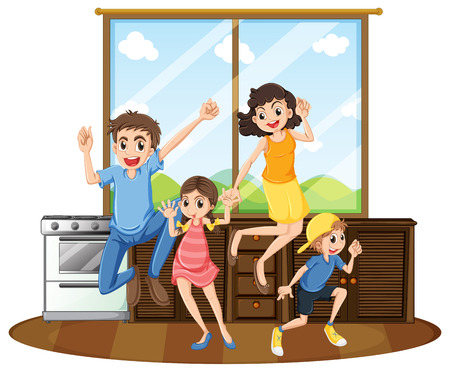 happy family at home: Family happy at home illustration
