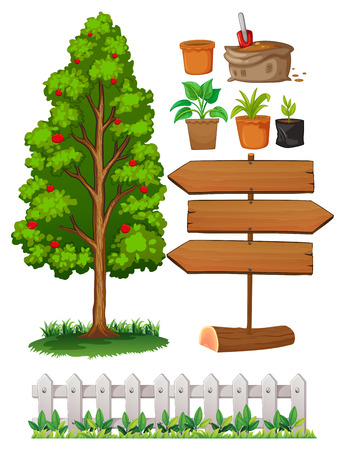 tree log: Gardening items with tree and fence illustration