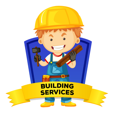 jobs people: Occupation wordcard with building services illustration
