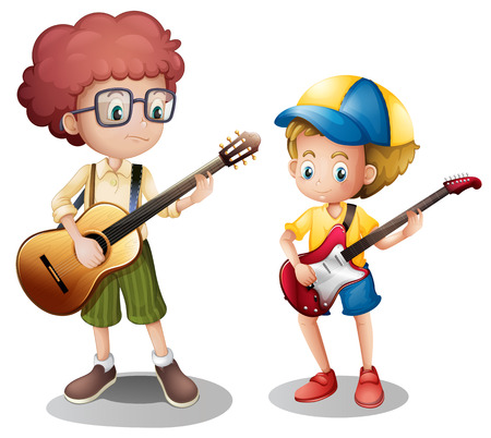 entertainment equipment: Two boys playing guitar illustration