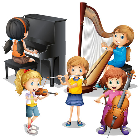 cellos: Many children playing classical music illustration Illustration