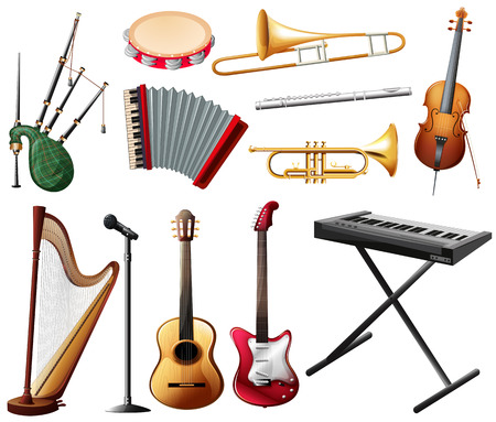 Different types of musical instrument on white illustration Illustration