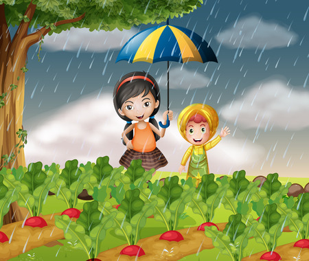 Kids in the garden when it is raining illustration