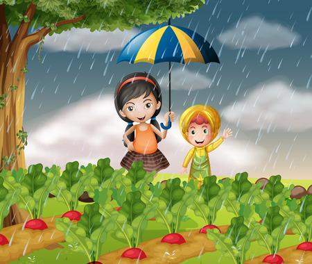 raining: Kids in the garden when it is raining illustration
