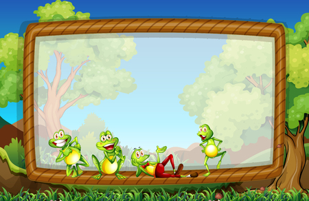 garden frame: Frame template with frogs in the garden illustration Illustration