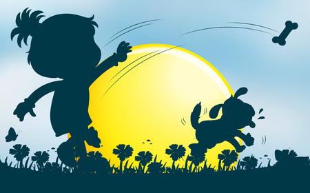 throwing: Girl throwing bone for dog in garden illustration