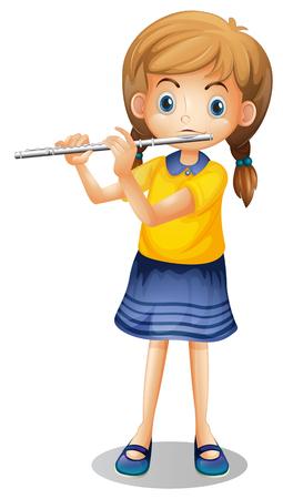 Girl playing flute alone illustration Иллюстрация