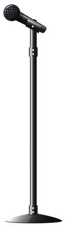 voices: Black microphone with stand illustration Illustration