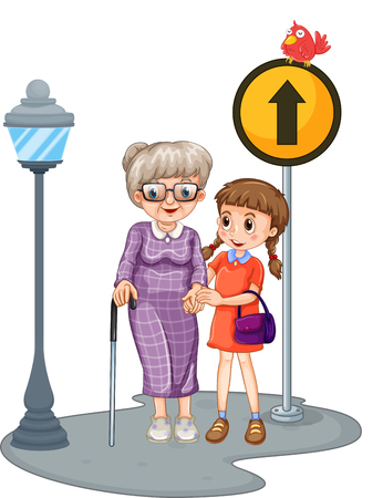 crossing street: Grandmother and kid crossing the street illustration