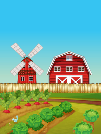 Farm scene with vegetable garden and barn illustration