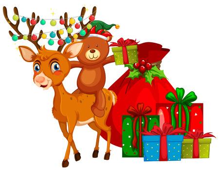 christmas gifts: Christmas theme with reindeer and presents illustration