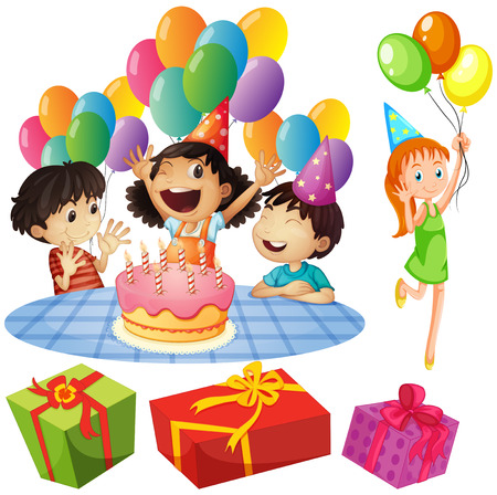 birthday presents: Kids at birthday party with balloons and presents illustration Illustration