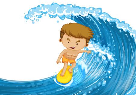 granola: Man surfing on the big wave illustration