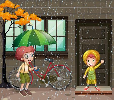 rain window: Rainy season with two boys in the rain illustration