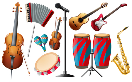 acordeon: Los diferentes tipos de instrumentos de la ilustración clásica Vectores