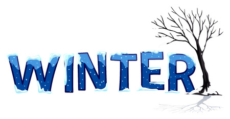 word: Font design with word winter illustration