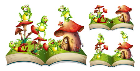 storytime: Happy frogs on storybook illustration