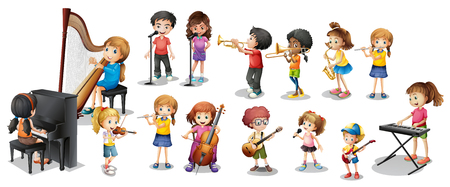 Many children playing different musical instruments illustration Vectores