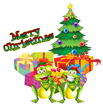 Christmas theme with tree and present boxes illustration