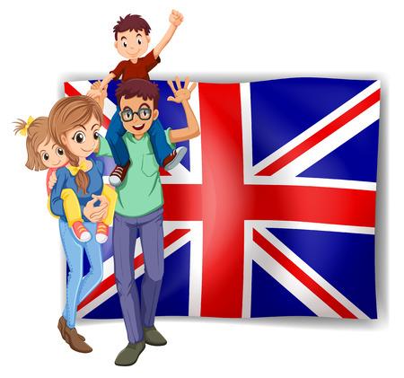 mom dad: Familia británica y bandera en la ilustración de fondo