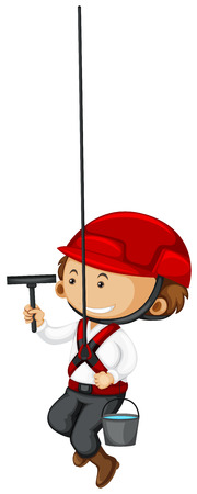 window cleaner: Window cleaner with bucket of water illustration