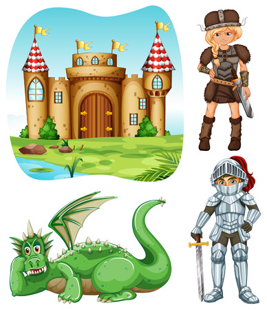 medieval woman: Medieval set with knight and dragon illustration Illustration