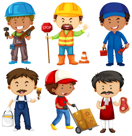 jobs people: People doing different jobs on white illustration