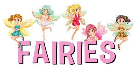 fantacy: Five fairies flying over the word  illustration