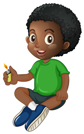 african americans: Little boy playing with lighter illustration