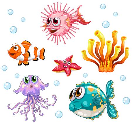 underwater fishes: Different types of fish underwater illustration