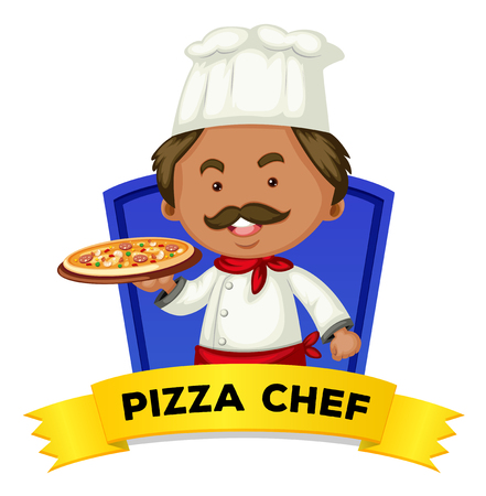 pizza chef: Occupation wordcard with word pizza chef illustration Illustration