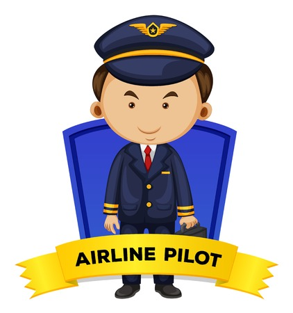 airline pilot: Occupation wordcard with airline pilot illustration