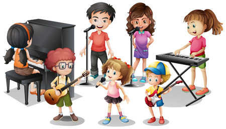 Children playing instruments and sing illustration