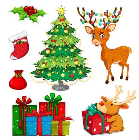 Christmas set with reindeer and christmas tree illustration Illustration