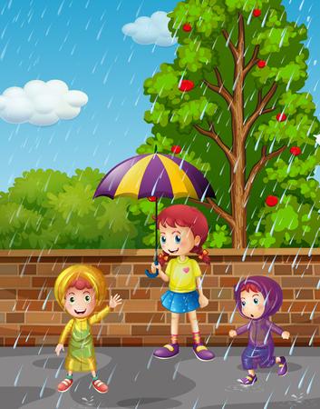 Rainy season with three kids in the rain illustration