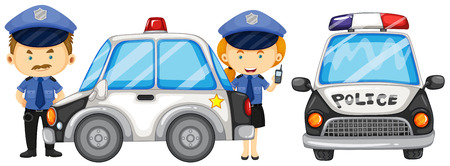 officers: Two police officers by the police car illustration