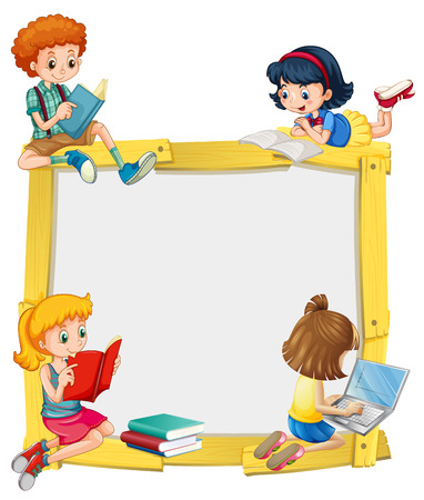 Border design with kids reading and doing homework illustration  イラスト・ベクター素材