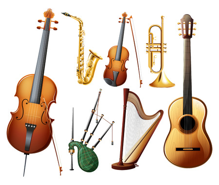 bagpipe: Different types of musical instruments illustration