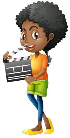 Girl holding clapboard on white background illustration Illustration