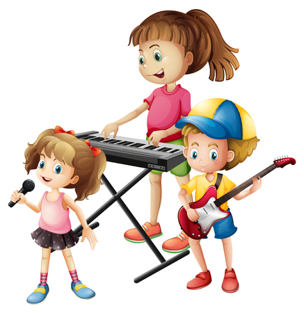 musical instrument: Children playing musical instrument together illustration
