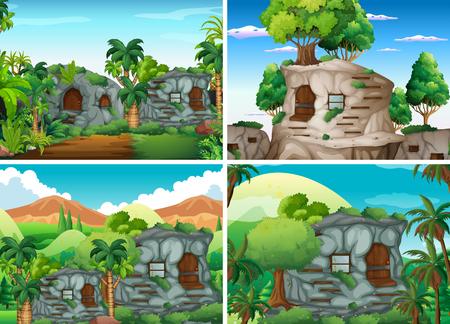 jungle scene: Scene with stone houses in jungle illustration Illustration