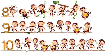 numbers clipart: Counting numbers with monkeys illustration