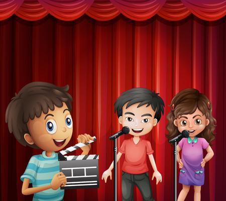 niños actuando: Hablar de los niños en la ilustración del micrófono