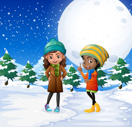 Scene with two girls in the snow field illustration
