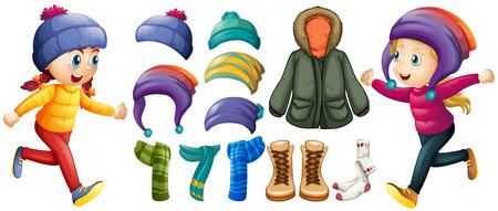 Children and winter clothes set illustration