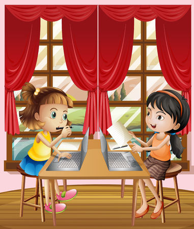 assignments: Two girls working on computer laptop illustration Illustration