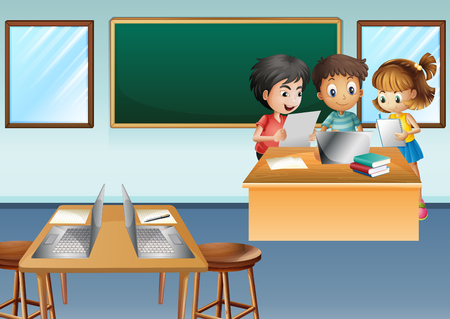 assignments: Three kids working on computer in class illustration