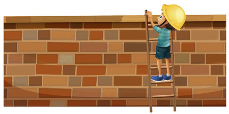 climbing wall: Boy climbing up the brick wall illustration